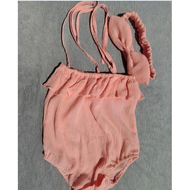 bébé sans manches style princesse de combinaison avec le bandeau de 0-24 mois