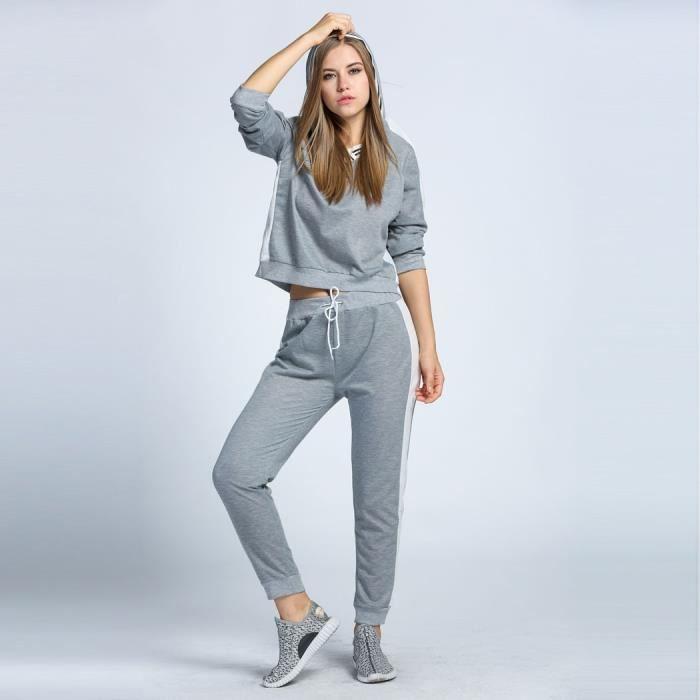 Top Femme Hoodie + pantalon Sport costumes survêtements Gris Gris  DL98