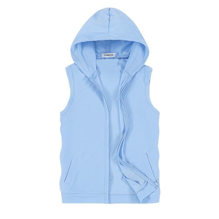 Sweat-Shirt Capuche Sans Manches Homme Veste En Jeans Sans Manches Homme  Gilet Sans Manches Homme,Bleu azur,XXL e0c038fdb058