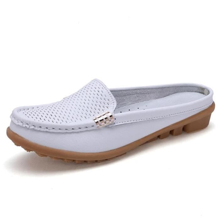 Mocassin Femmes Cuir Occasionnelles Casual Chaussure DTG-XZ045Blanc40