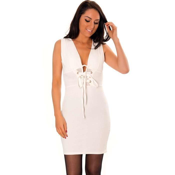 Miss Wear Line - Robe cintrée courte blanche avec taille à lacets croisés