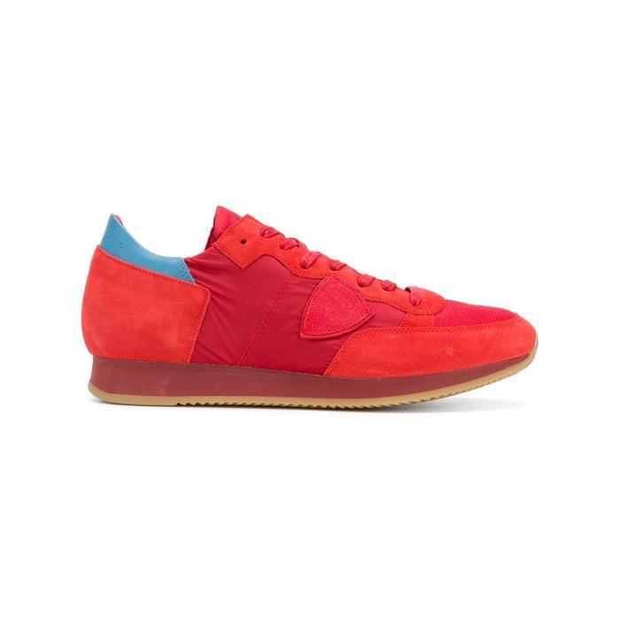 PHILIPPE MODEL HOMME TRLUSR12 ROUGE CUIR BASKETS