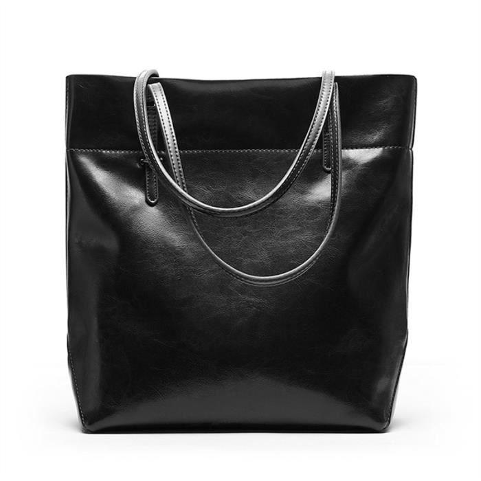 25c5181c04 Sac à main décontracté pour femmes Grand sac fourre-tout vertical Exquis Sac  à bandoulière en cuir fendu (Noir)