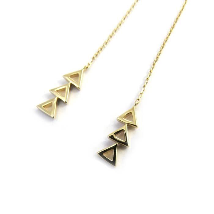 Les Trésors De Lily [N3033] - Boucles Plaqué Or Triangles
