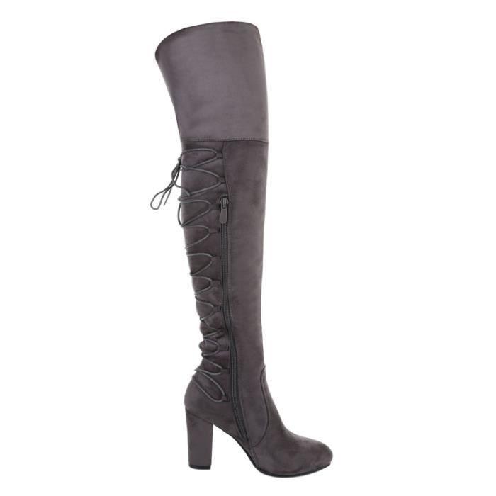 Chaussures femme Overknee botte facile doublé gris 41