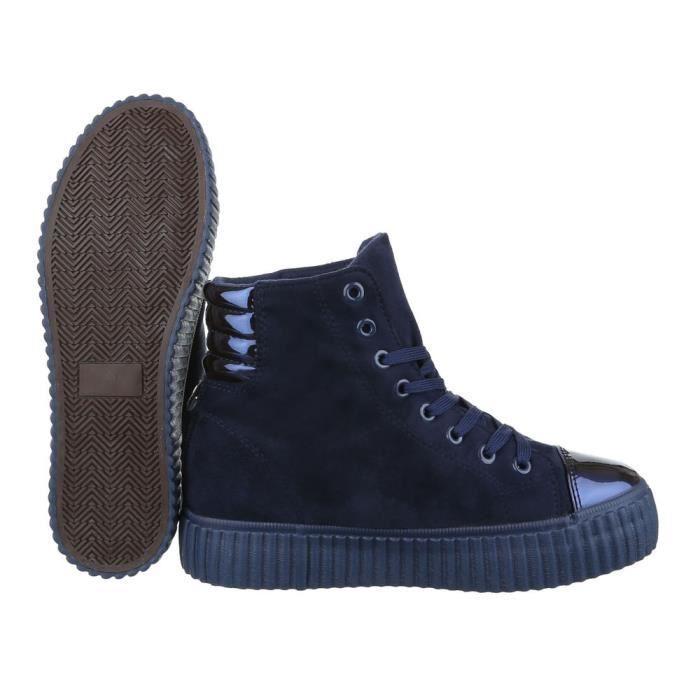 femme Sneaker chaussure chaussures décontractées coureur High-top lacer ses bleu foncé
