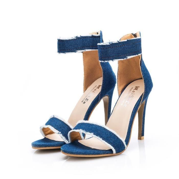 plus Sandales Super Été récents Femme Blue bride chaussures High cheville Toe Denim Sandales Spartiates mince sexy bleu Heels de HdqAdw