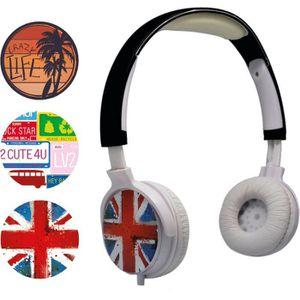 TEKNOFUN Casque Audio Personnalisable US et USA 3 faces interchangeables