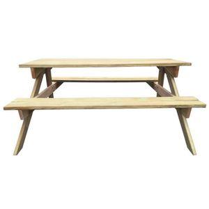 TABLE DE CAMPING Magnifique Table de pique-nique en bois 150 x 135
