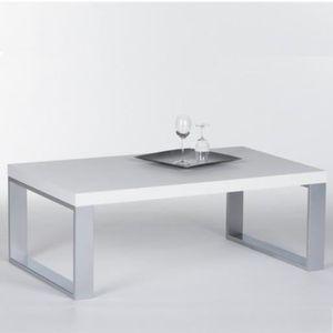 TABLE BASSE Table basse blanche design avec pied acier 115x70