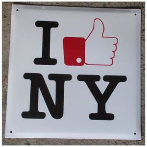 OBJET DÉCORATION MURALE grosse plaque emaillee I love NY new york tole ema
