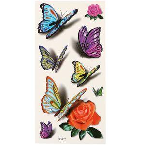 PEAU SYNTHÉTIQUE Tattoo Waterproof 3D Fleur volant papillon Autocol