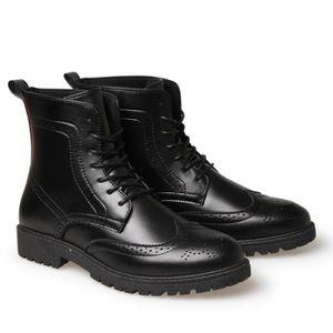 Botte Homme Simple britannique Big Taille haute qualité en cuir de loisirs noir taille43 jJPqyiK9dU