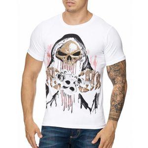 T-SHIRT T-shirt tête de mort et strass T-shirt 3236 blanc a76fc8978635