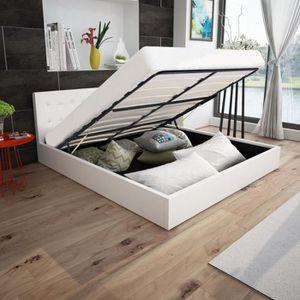 STRUCTURE DE LIT Cadre de lit avec cuir synthétique de levage à gaz