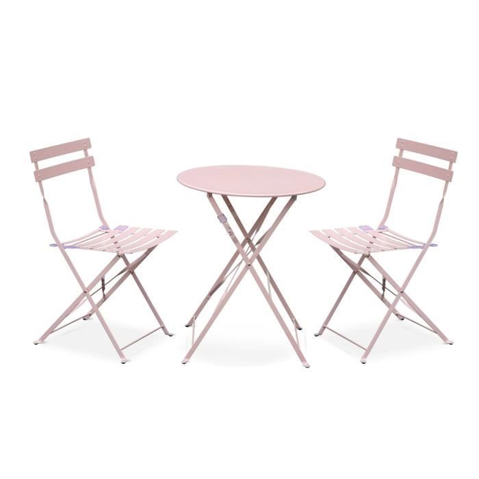 Salon de jardin bistrot pliable - Emilia rond rose pale - Table ...