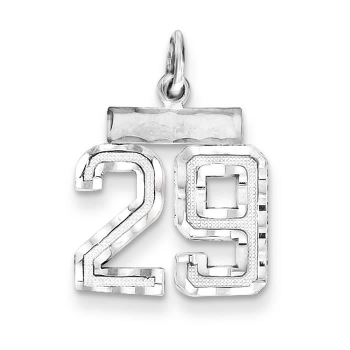 Argent Sterling charme-nombre 29