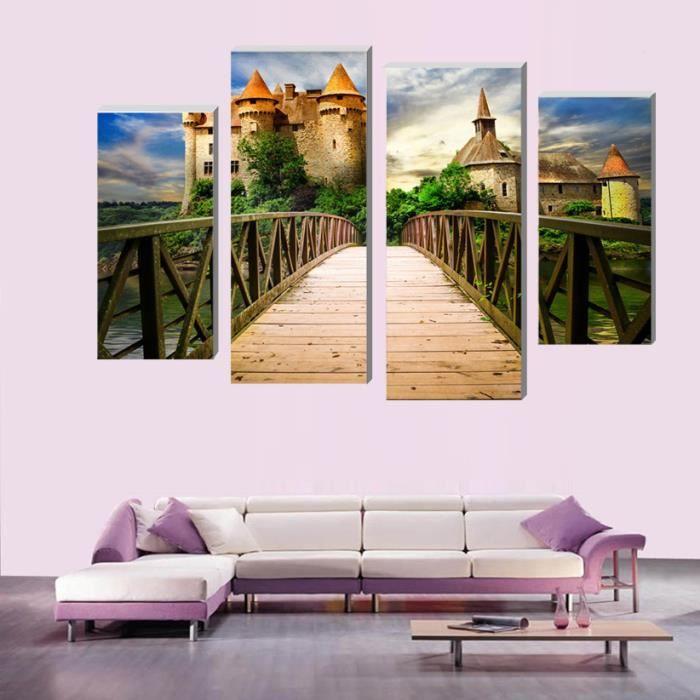 4 Pcs château en bois Art murale Décoration intérieure moderne Salle de  séjour ou chambre à coucher Peinture sur toile Peinture m...