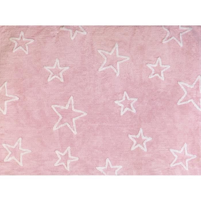 Tapis chambre enfant et bébéétoiles rose fille lavable 120x160 cm ...