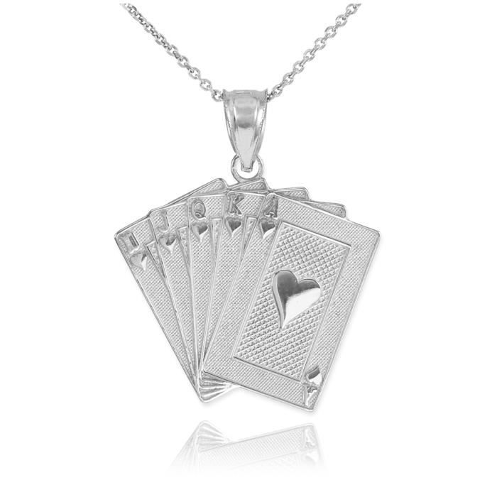 Pendentif 925en Argent 925/1000 Pendentif Royal Poker Flush