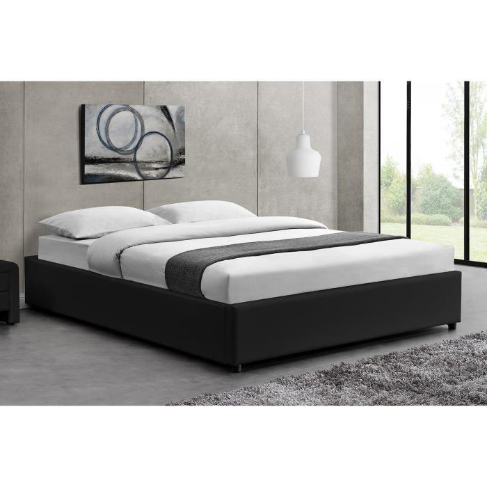 caroga noir 160x200 structure de lit avec coffre - Cadre De Lit Avec Rangement 160x200