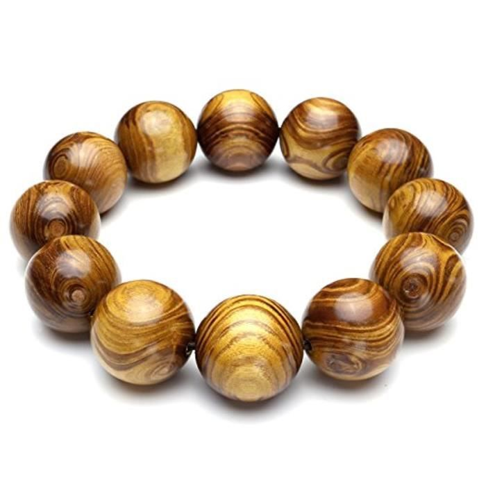 20Mm Bois Bracelet Lien Poignet Tibétain Bouddhiste Boule Perle Prière Buddha Mala Amulette Avec Rayure Oeils Série Élastique Ho