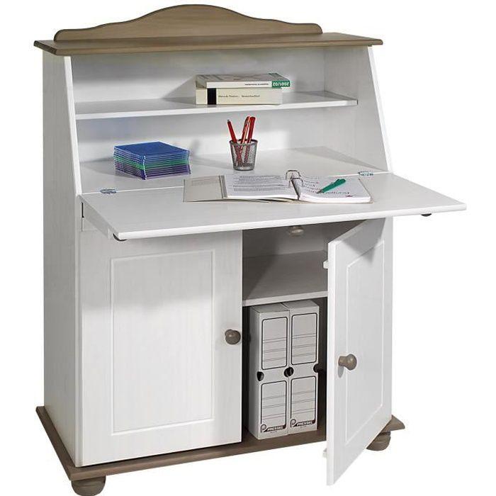 Bureau secrétaire DAVID rangement avec abattant étagères et 2 portes, en pin massif lasuré taupe et blanc