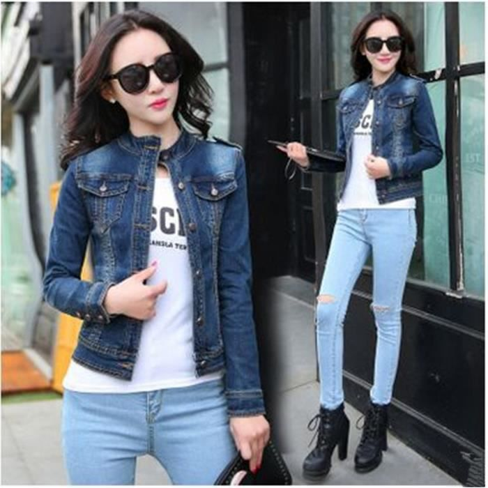 05873acf32a4 Femmes Denim Jacket 2016 Nouvelle Collection Mode stand Casual Col ...