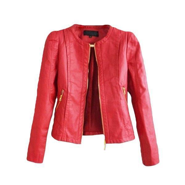 Veste cuir rouge bordeaux femme