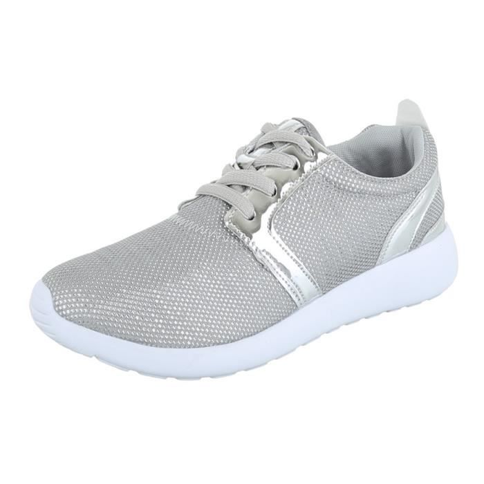 Femme chaussures loisirs chaussures Sneakers lacer argent 36