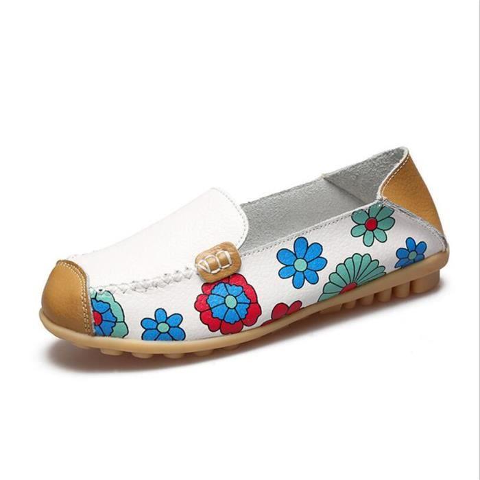 Mocassins Femmes Printemps ete Cuir Chaussures BXX-XZ056Blanc35