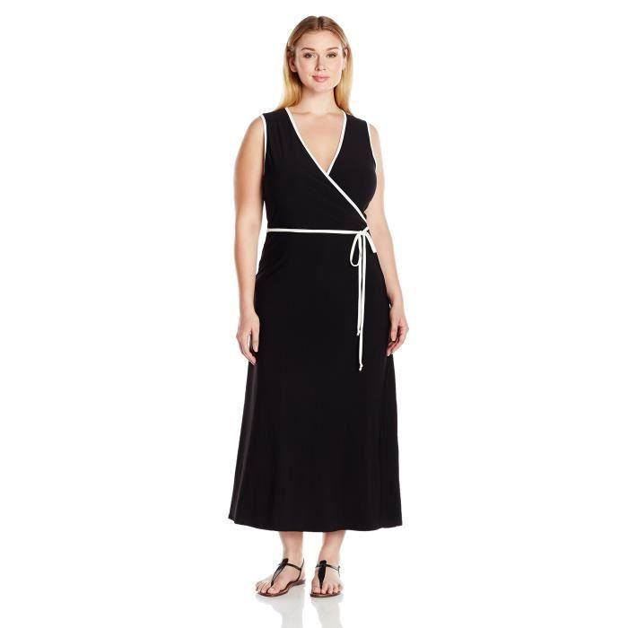 592ba95d29a Plus Size Faux manches Robe portefeuille Maxi avec passepoil Contraste  Femme 1PCQA6 Taille-42