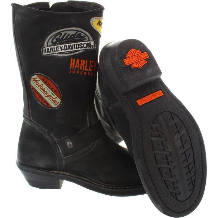 "Harley Davidson Breken 9""bottes de motard en cuir femmes Noir 3.5"