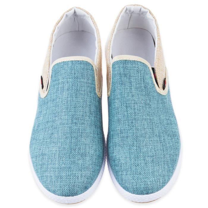 Slip solide les couleur de Chaussures toile Lin hommes sur Respirant Aw5vRPqxa