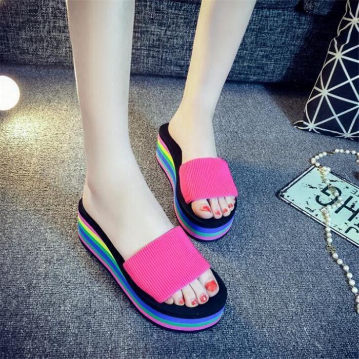 Pantoufle femme Chaussure mules qualité supérieure Nouvelle mode Confortable de plage plein air tendance d'été