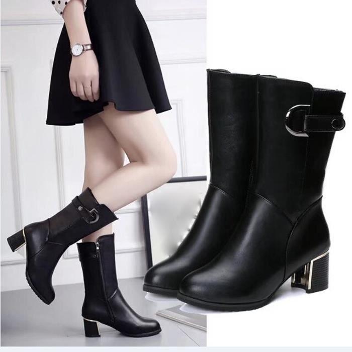 Sidneyki®Femmes Chaud Chaussures Dames Rough Avec Cales Haut Talon Cheville Botte Zipper BotteNoir WE480 CaLer