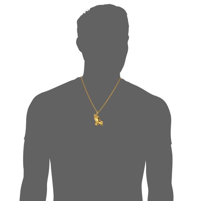 U7 Collier Pendentif-Main Prière-Acier INOX-Plaqué Or Jaune-Chaîne Offerte-Maille Spiga-Bijoux Religieux