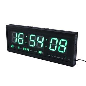 Horloge Murale Numérique Grand LED Digital Montre Quartz Date ...