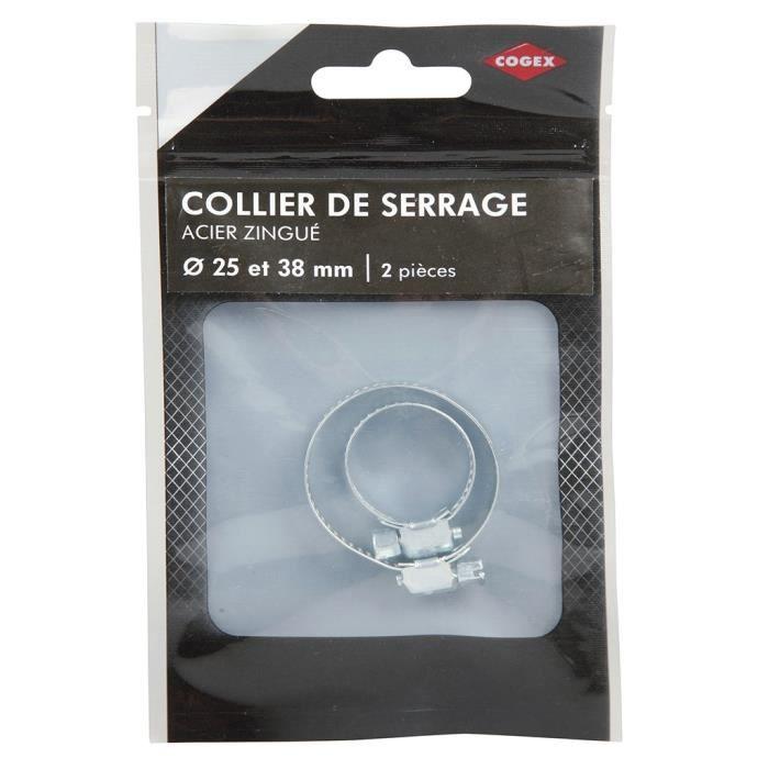 COGEX Collier de serrage acier zingue - ø 25 et 38 mm - 2 pcs