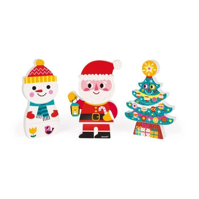 JANOD Puzzle magnétique Funny ''Le Père Noël et ses amis''