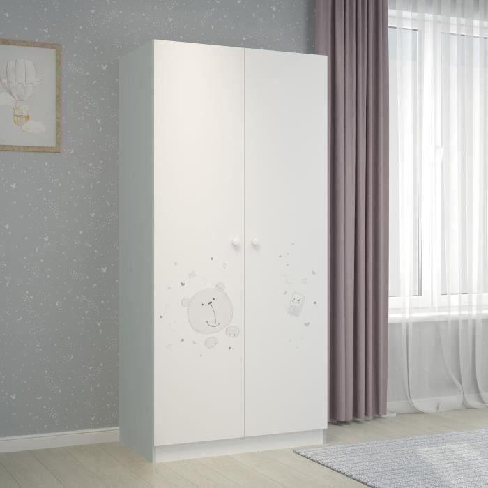 Ourson Teddy Armoire 2 portes - blanc/gris