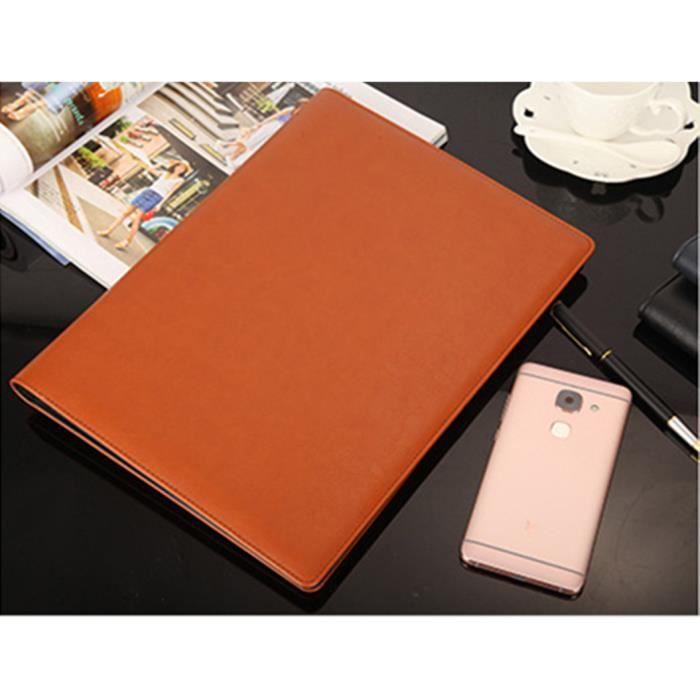 A4 Multifonction Classique Dossier Note Book Padfolio Series Clip Personal-Organisateurs (34*25CM) -Brun
