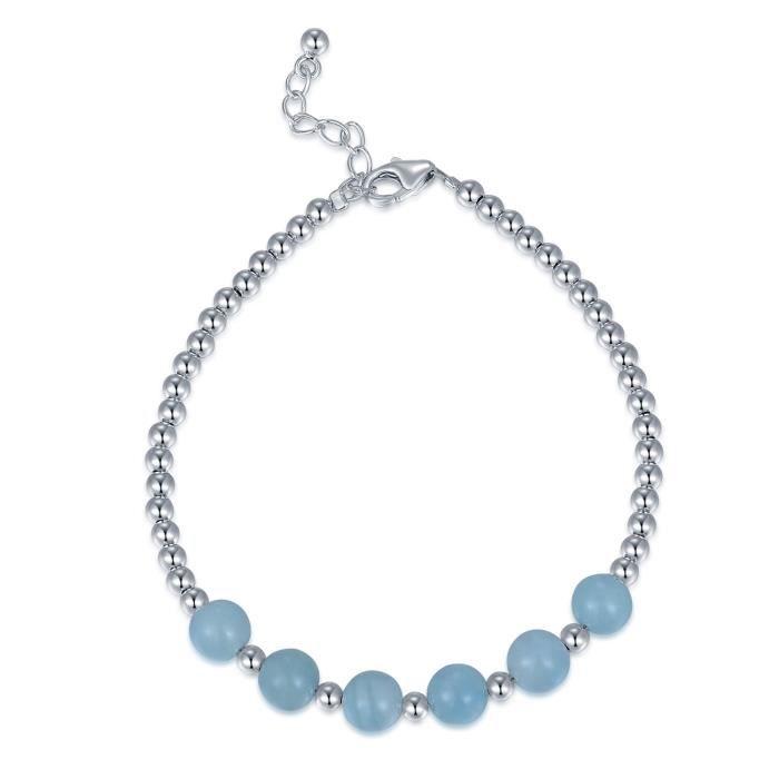 MBLife Aquamarine Perles Bracelet Femme Argent Sterling 925 (6 Pouces) Bijoux Cadeau