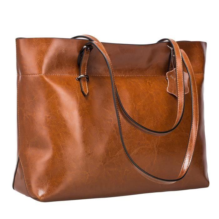 Fourre-tout en cuir véritable vintage sac à main Version améliorée PBIWX