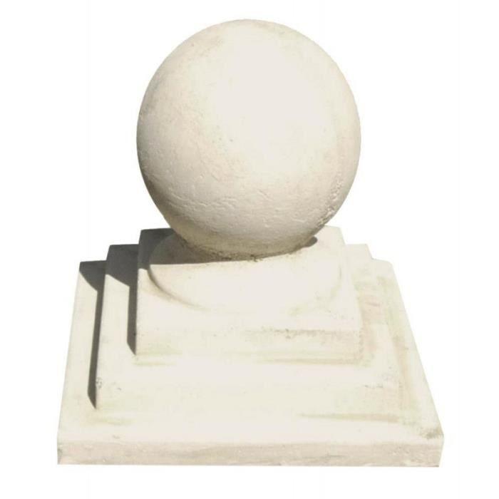 Boule en pierre reconstituée avec socle carré • Statue & statuette • Objet  déco jardin
