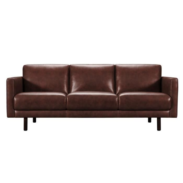 Canapé cuir 3 places avec pieds en bois Jane Chocolat Achat