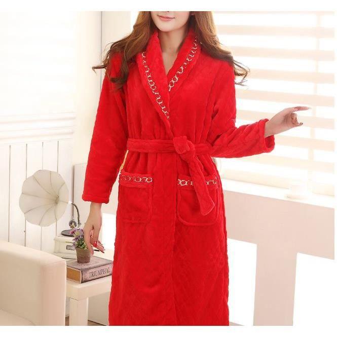 Robe de chambre polaire femme rouge liser croisillons achat vente robe de chambre cdiscount - Robe de chambre femme leclerc ...