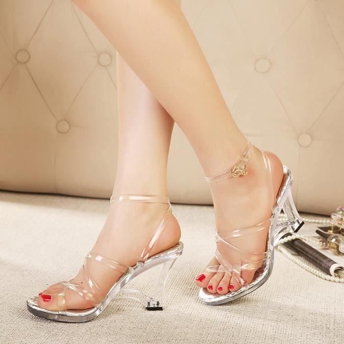 Nouvelles argent élégant 9cm d'été de la mode sangles croisées cristal transparent haute plate-forme sandales