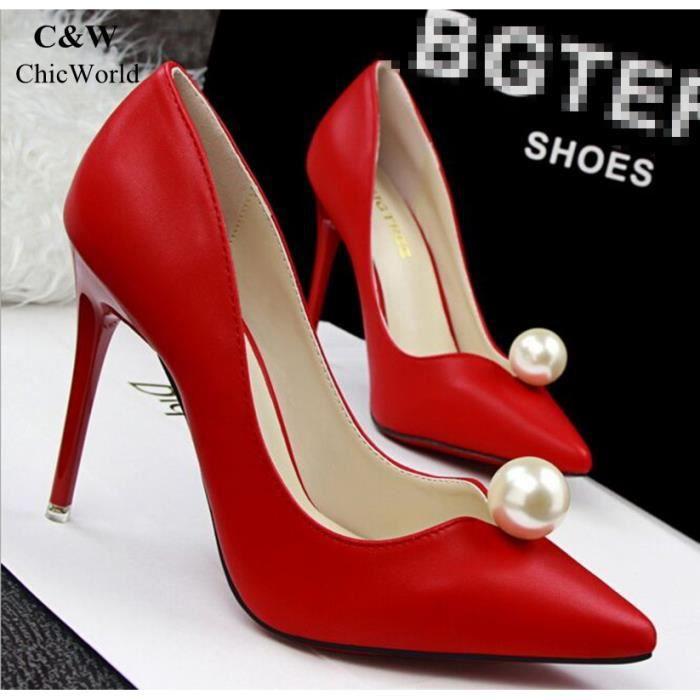Nouveau Mode Perle Désign Sweet Chaussure Femme Talon Haut Pointu Chaussures de Mariage Talons Minces Chaussures Soirée
