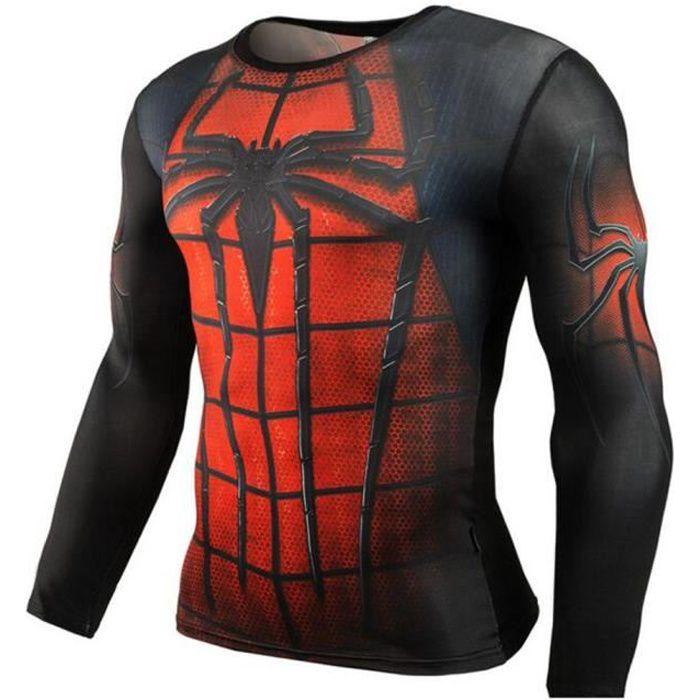 Spideman Fitness Compression de Chemise Men Superman Culturisme manches  longues 3D T-shirt a5f8b829f1b